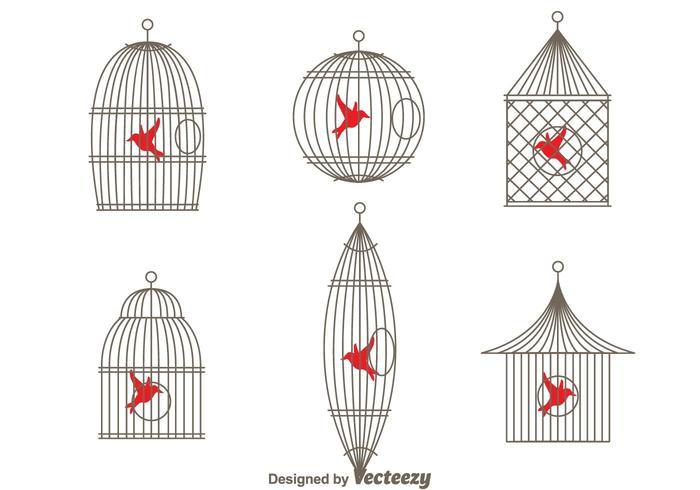 Cage d'oiseaux vintage simple et simple vecteur