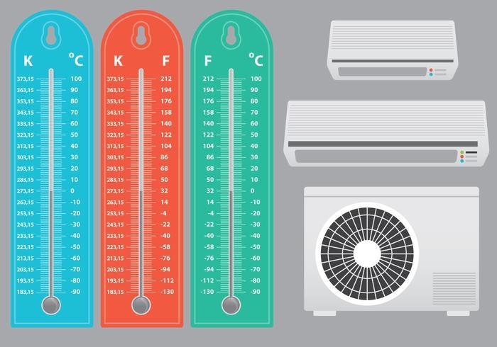 Climatiseur avec vecteurs thermomètre vecteur