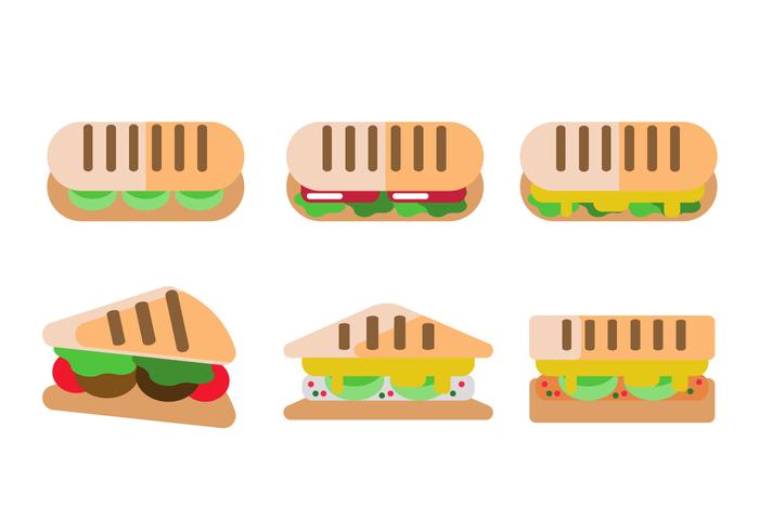 Panini sandwich ensemble plat vecteur