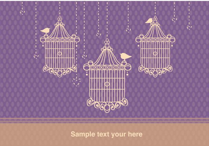 Contexte avec cage d'oiseaux Style vintage vecteur