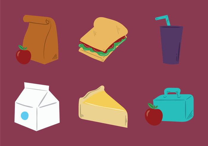Illustration vectorielle gratuite pour les repas scolaires vecteur
