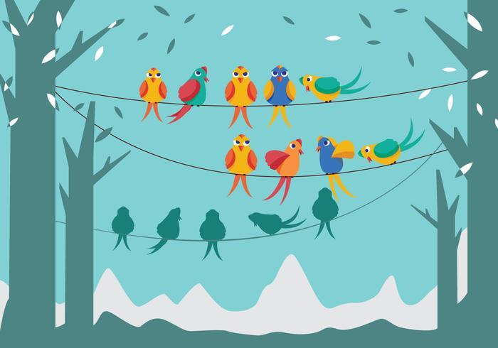 Oiseaux sur un vecteur de fil