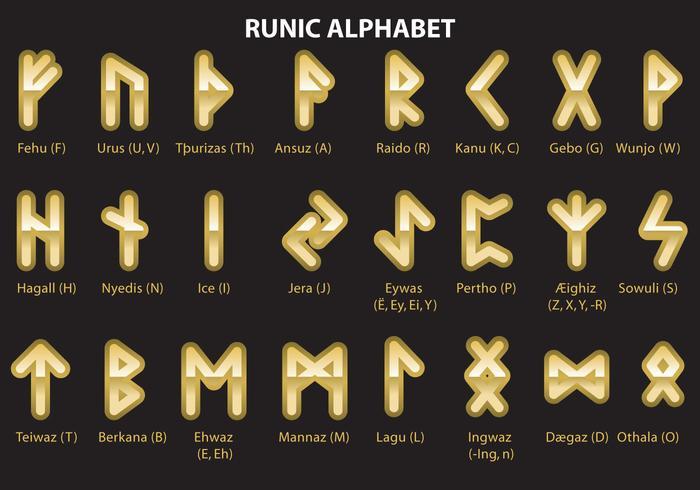 Alphabet runique doré vecteur