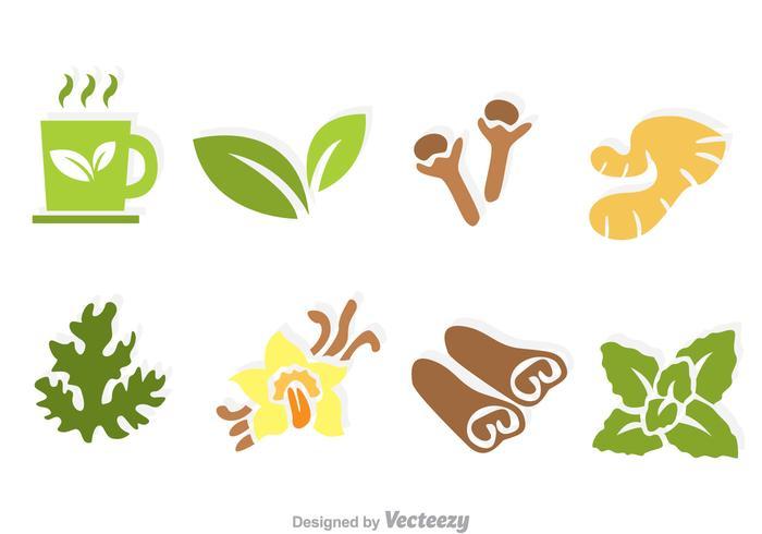 Icônes de vecteur de thé à base de plantes