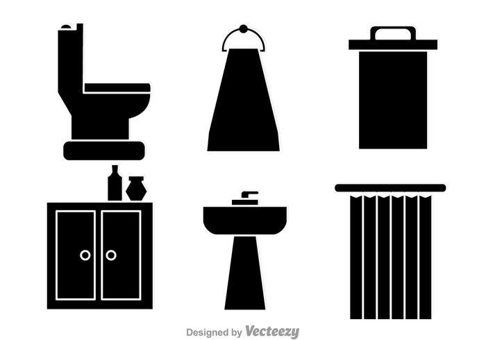 Ordinateur de salle de bain Vecteurs noirs vecteur