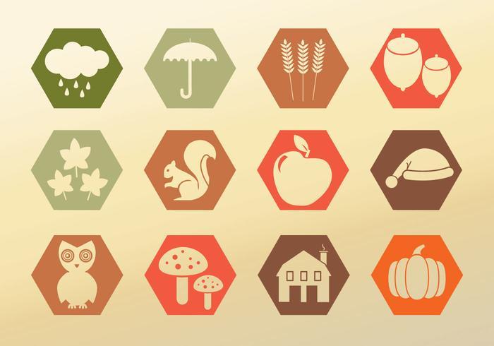 Définir les icônes automne vecteur