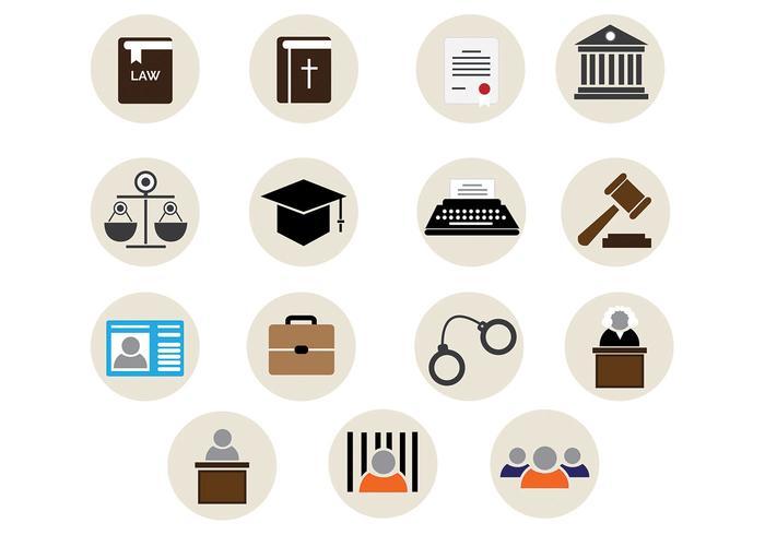 Icônes vectorielles du bureau de la loi vecteur