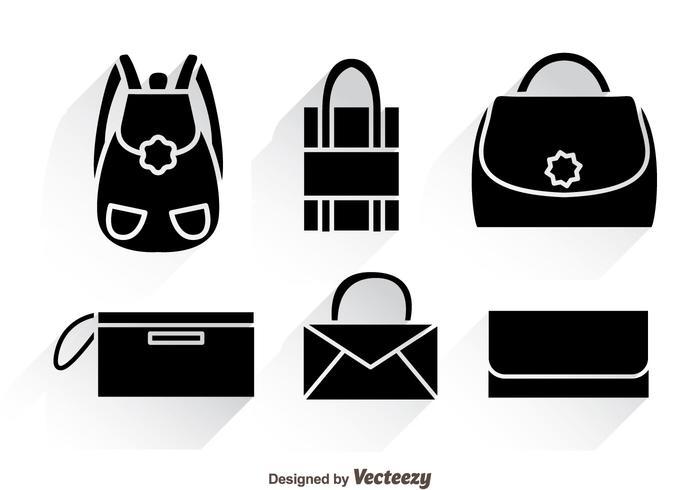 Bag noir icônes avec des ombres vecteur