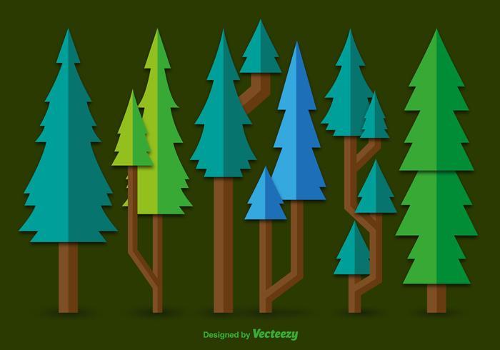 Vecteurs de pin vert plat vecteur