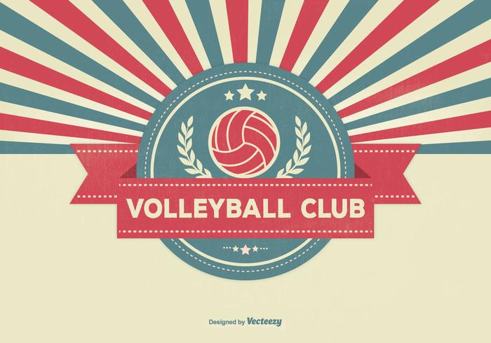 Illustration rétro du club de volleyball vecteur