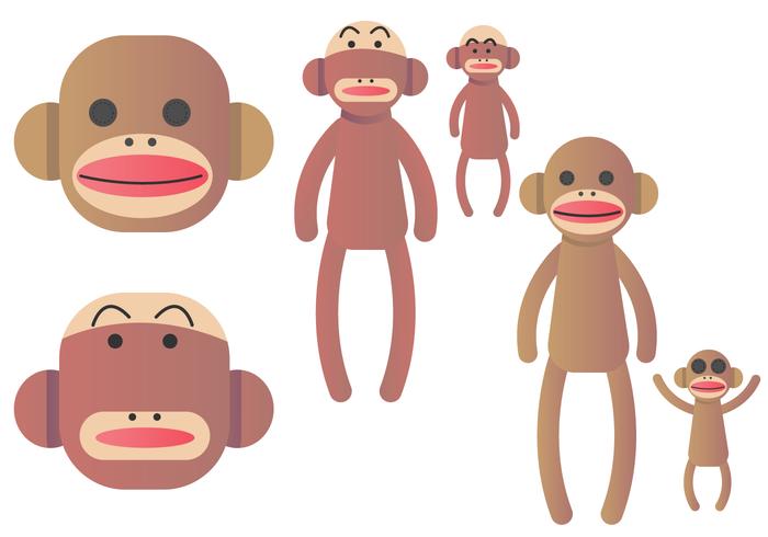 Ensemble de vecteur de singe de chaussette