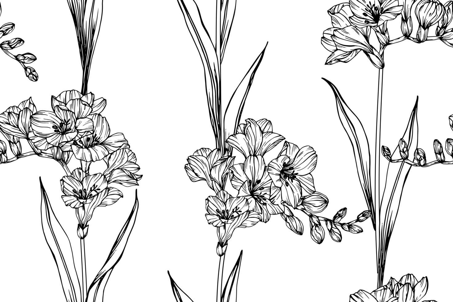 modèle sans couture de fleur de freesia vecteur