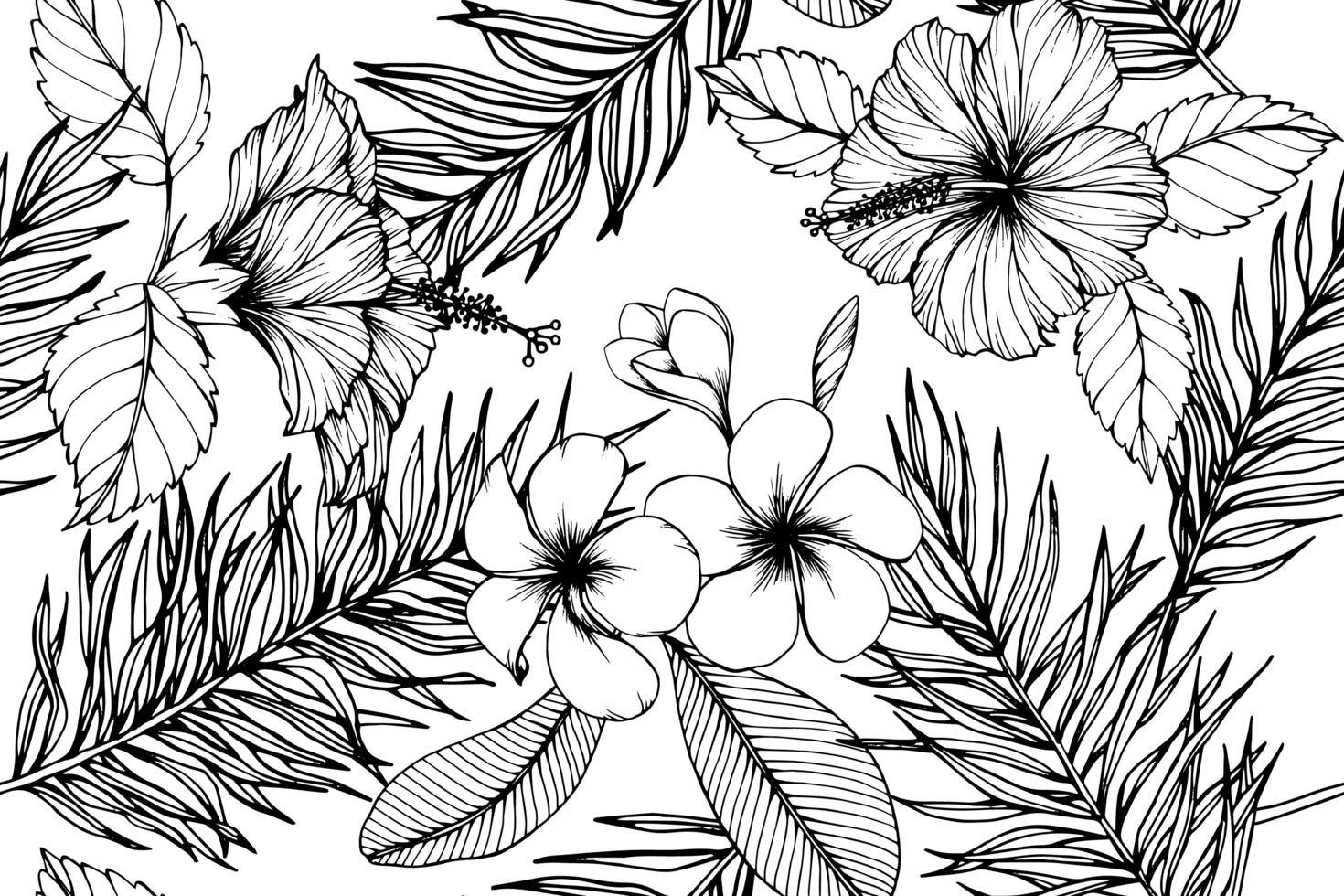 fleurs tropicales hawaïennes vecteur