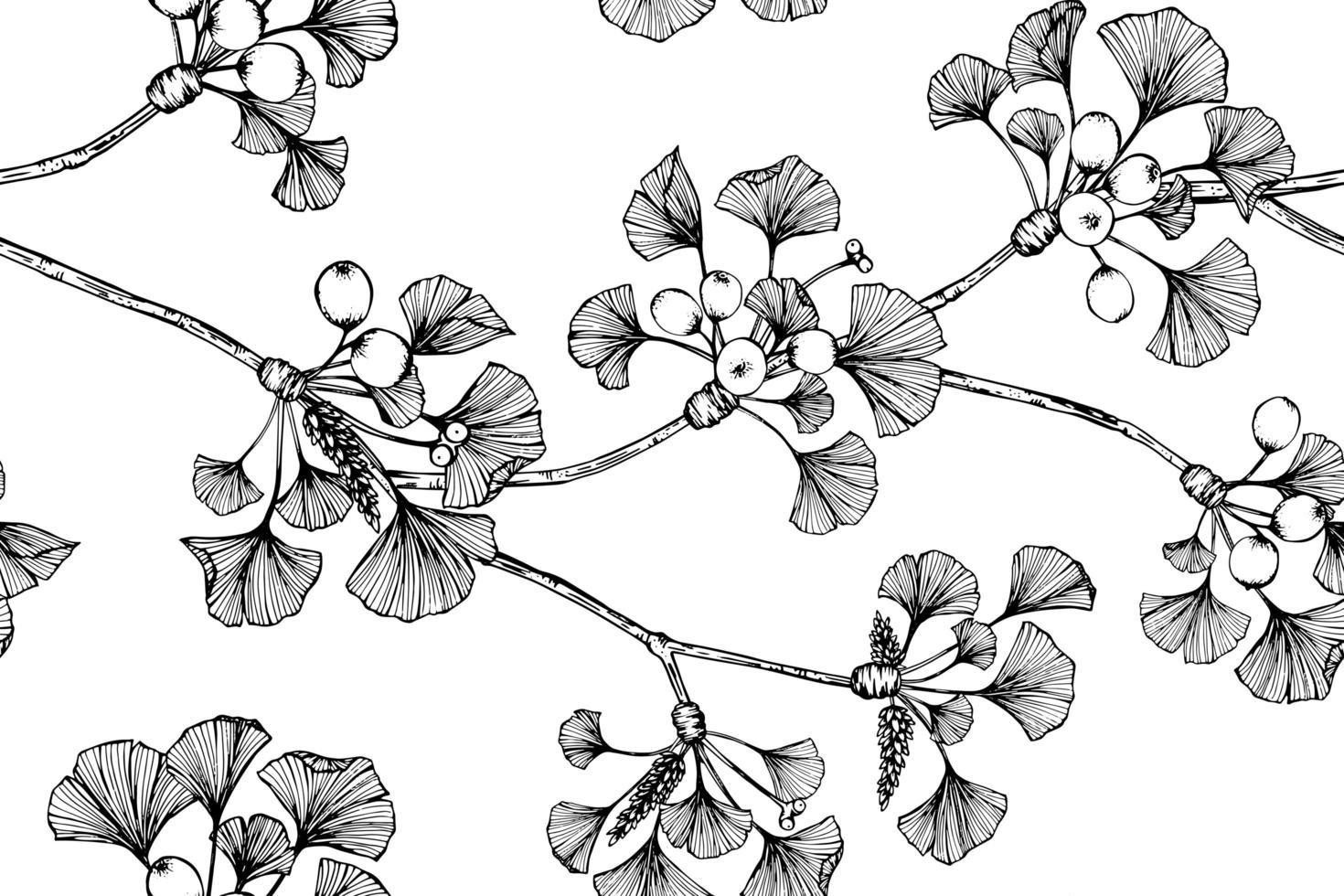 feuille et fleur de ginkgo vecteur