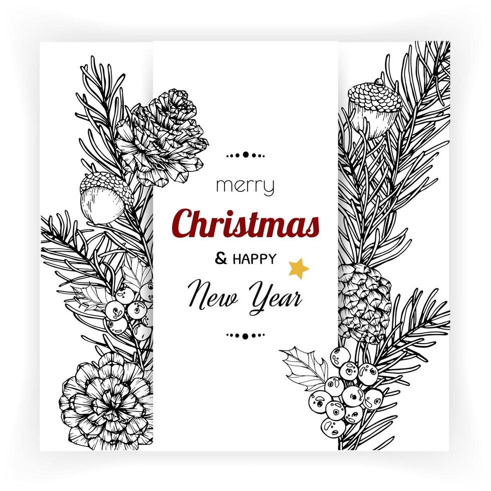 conception de cartes de Noël avec flowerd vecteur