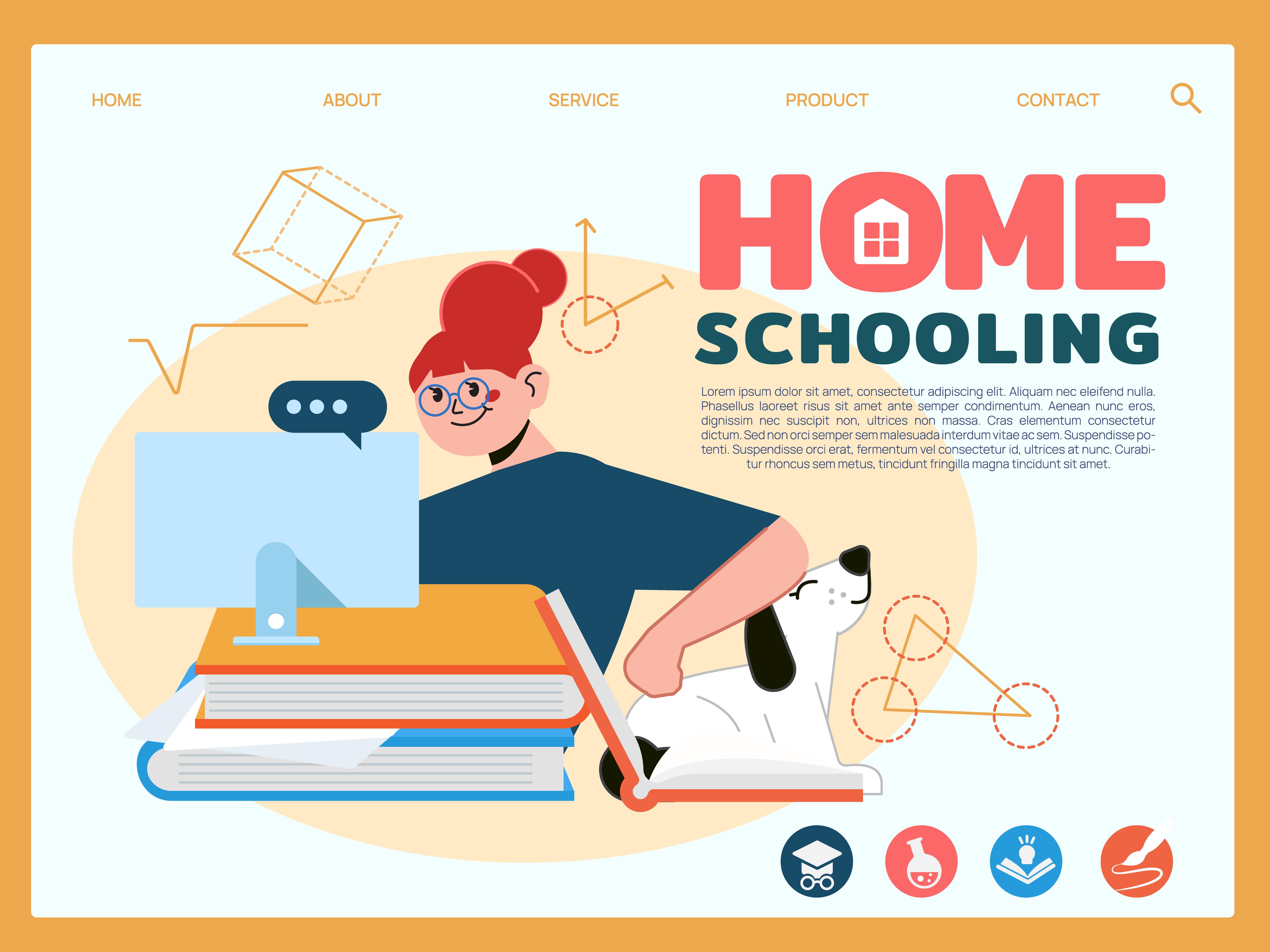scolarisation à domicile fille assise avec ordinateur pour apprendre