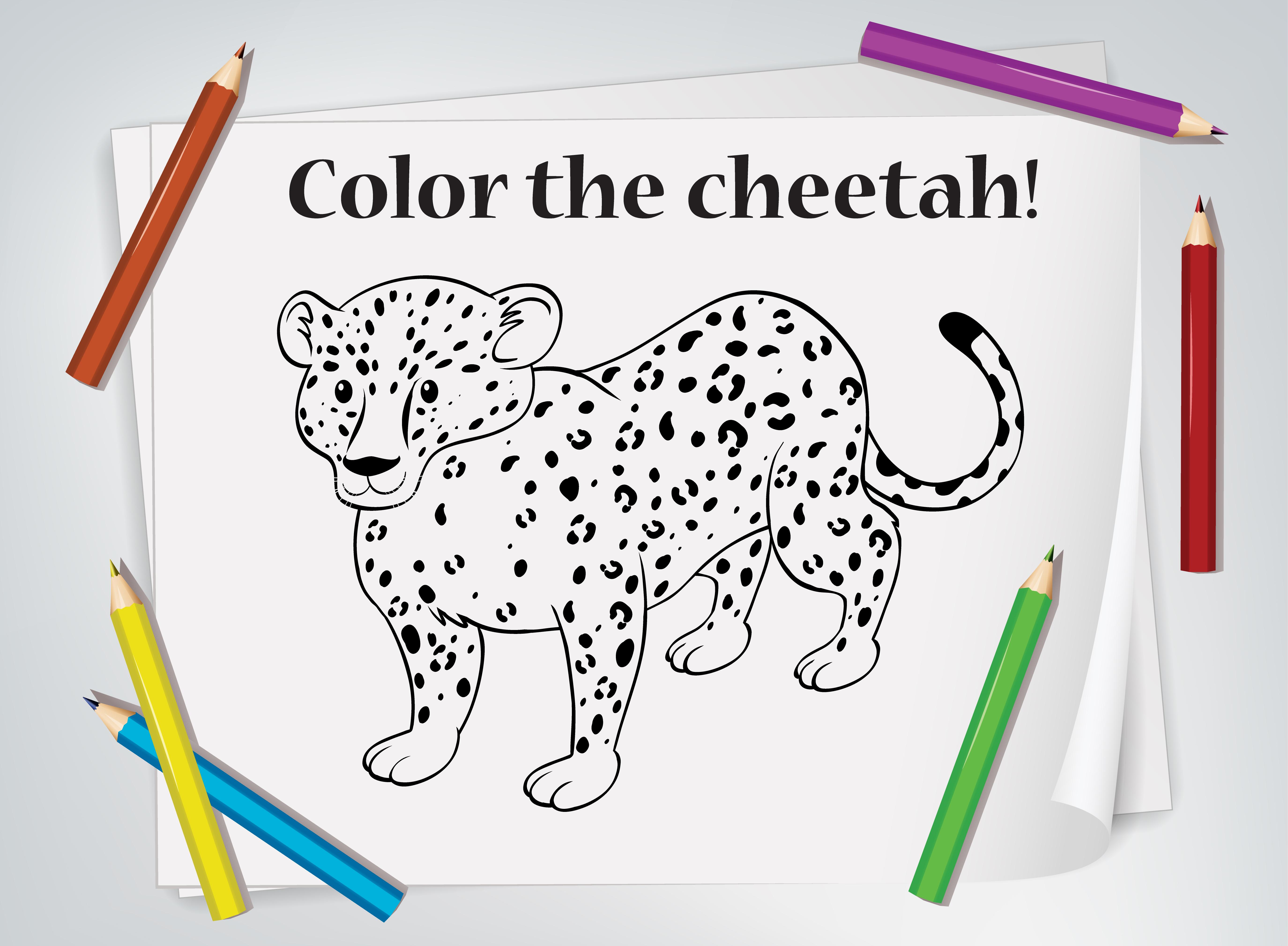 Feuille De Coloriage Guepard Enfants Telecharger Vectoriel Gratuit Clipart Graphique Vecteur Dessins Et Pictogramme Gratuit