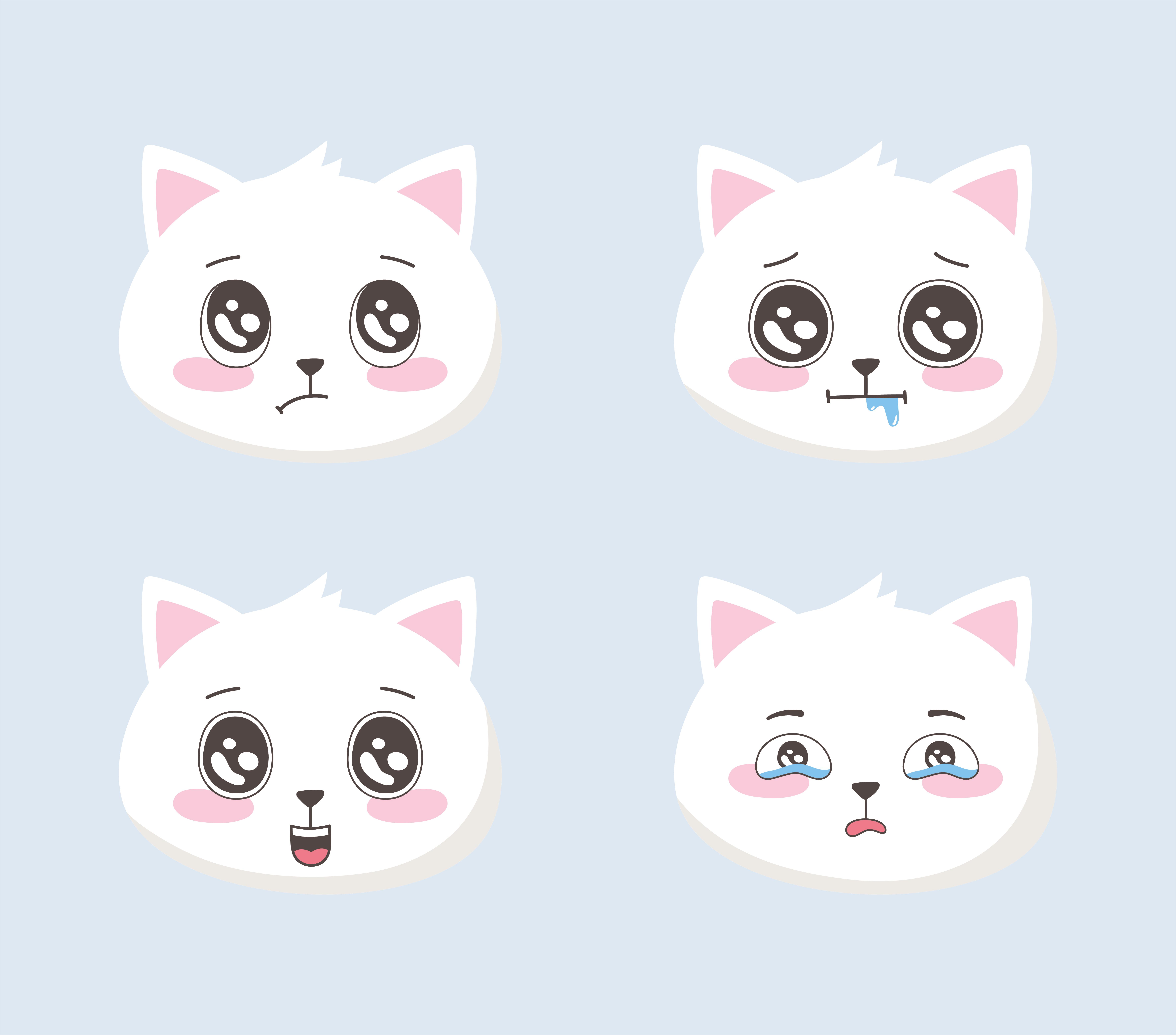 Mignon Chats Emoticones Dessin Anime Differents Visages Animaux Droles Telecharger Vectoriel Gratuit Clipart Graphique Vecteur Dessins Et Pictogramme Gratuit