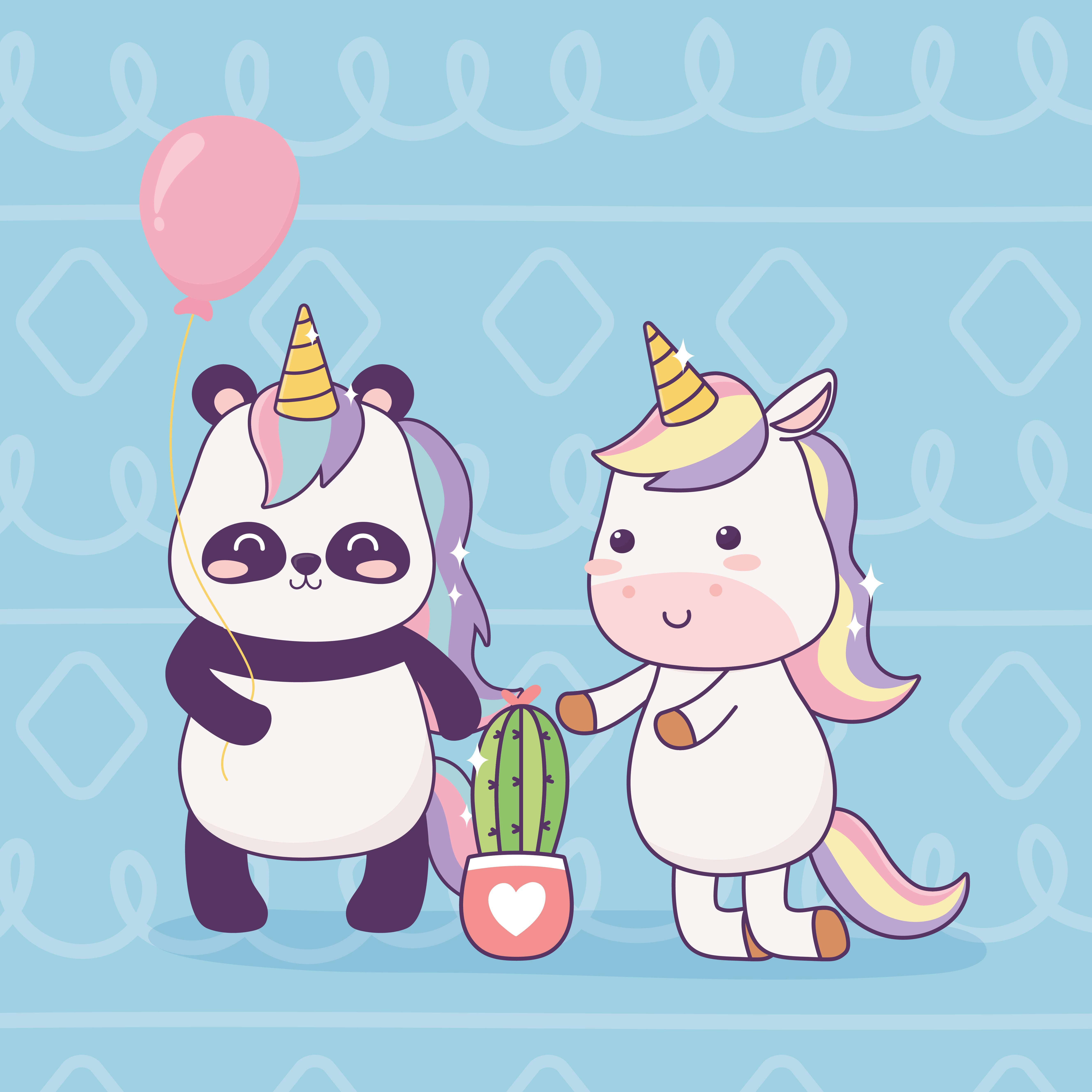 Licorne Et Panda Avec Dessin Anime Cactus Magique Telecharger Vectoriel Gratuit Clipart Graphique Vecteur Dessins Et Pictogramme Gratuit