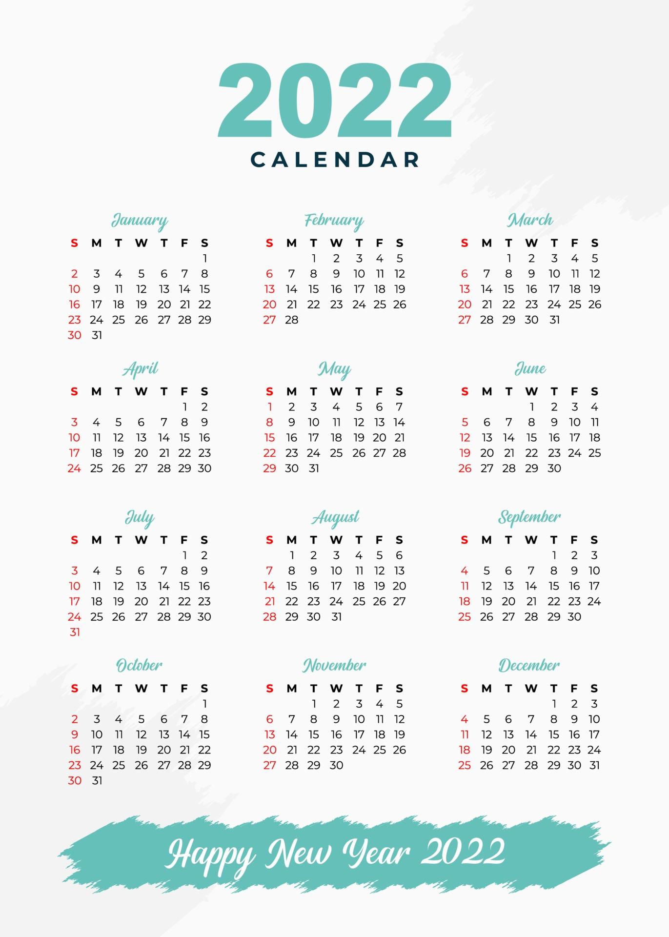 Calendrier 2022 Dessin modèle de calendrier 2022 au design tout simplement élégant