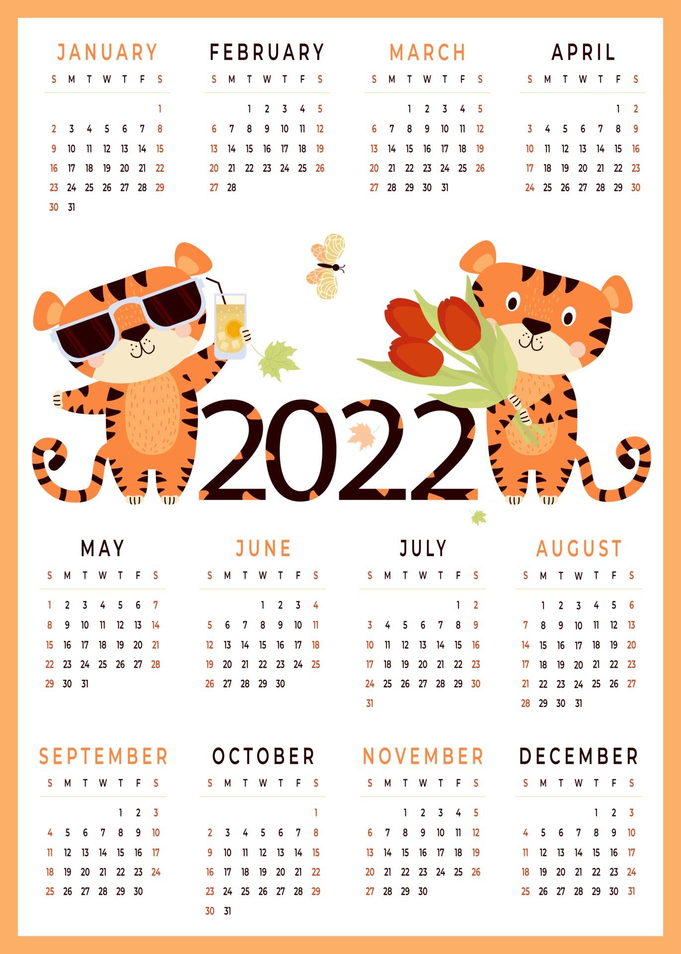Calendrier Enfant 2022 Calendrier 2022 pour enfants 2022 avec modèle vertical de