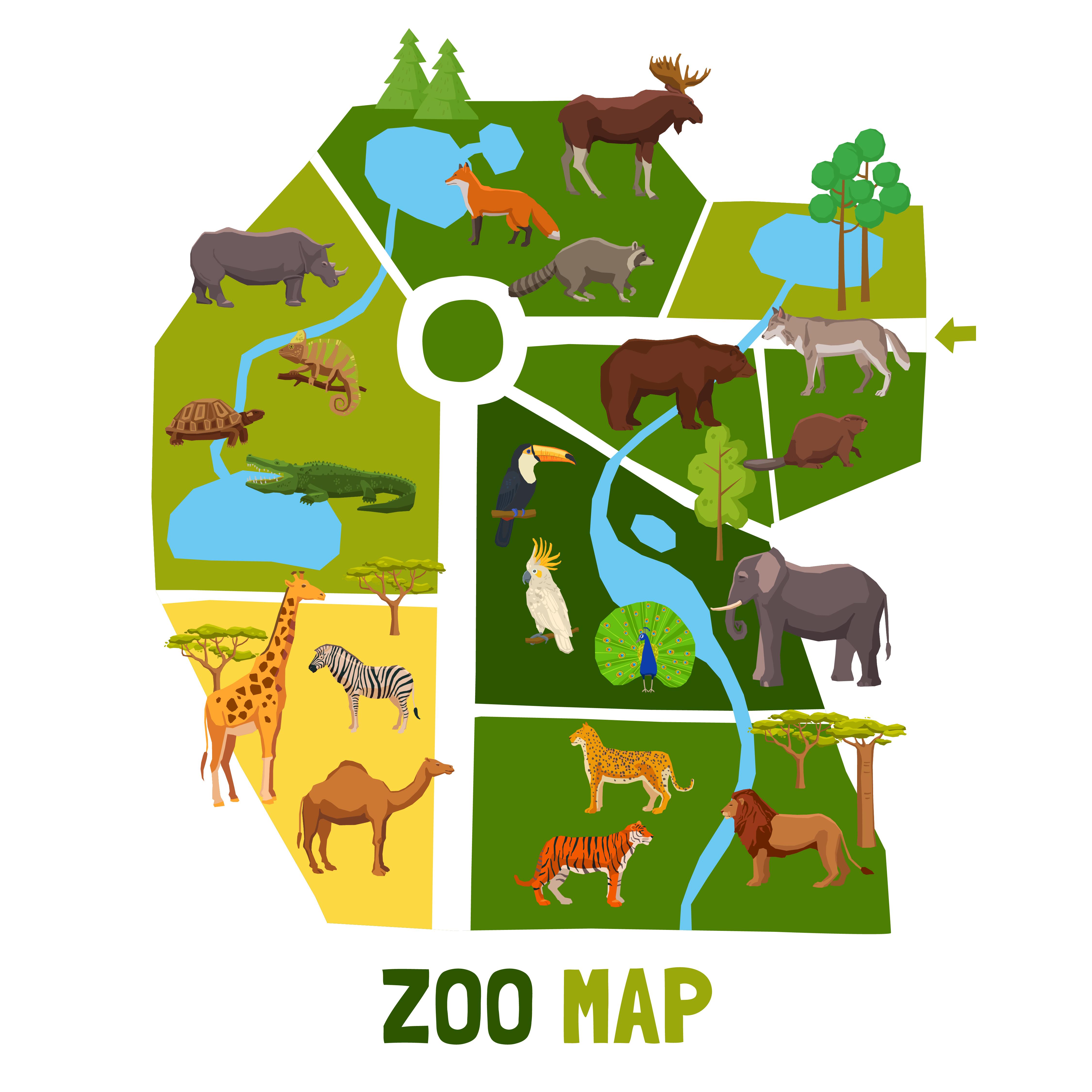 Zoo Dessin Anime Avec Animaux Telecharger Vectoriel Gratuit Clipart Graphique Vecteur Dessins Et Pictogramme Gratuit