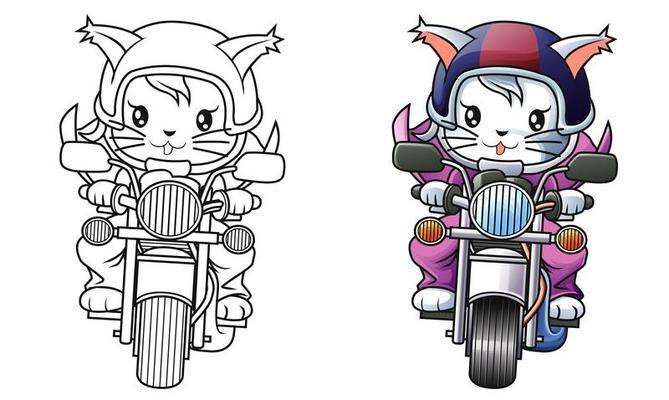 Coloriage Chat Et Moto De Cavalier Pour Les Enfants 1613443 Telecharger Vectoriel Gratuit Clipart Graphique Vecteur Dessins Et Pictogramme Gratuit