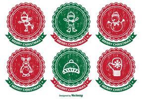 Ensemble d'étiquettes de Noël affligé vecteur