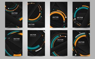modèle de brochure d'entreprise noir et orange vecteur