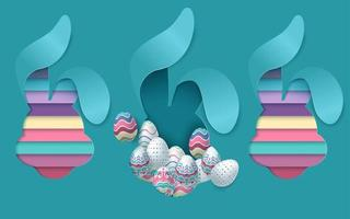 conception de cartes de Pâques avec du papier découpé en forme de lapin vecteur