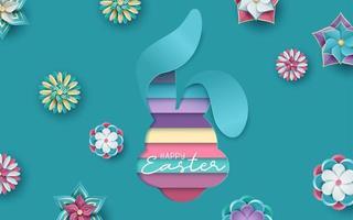 carte de pâques avec lapin en papier coloré forme découpée vecteur