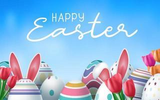 carte de Pâques avec des oeufs décorés et des oreilles de lapin