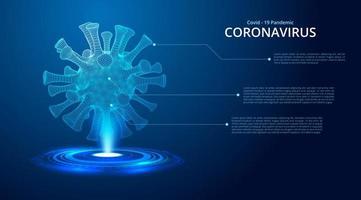 bleu foncé brillant 2019-ncov coronavirus low poly vecteur