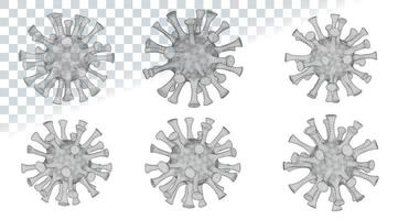 virus microscopique low poly 2019-ncov gris vecteur