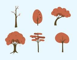 Ensemble d'illustration d'arbres vectoriels vecteur