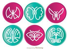 Icônes de cercle de papillon vecteur
