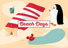 Fond de temps de plage gratuit avec pingouin mignon vecteur