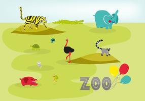 Gratuit, mignon, dessiné, zoo, animaux, vecteur, fond