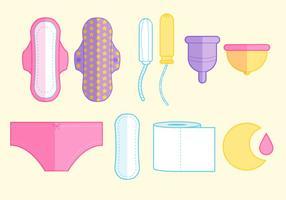 Ensemble d'icônes pour l'hygiène féminine