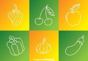 Les icônes des contours de fruits et légumes vecteur