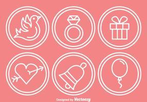 Icônes de cercle de contour de mariage vecteur