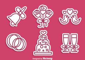 Icônes Stiker de mariage vecteur