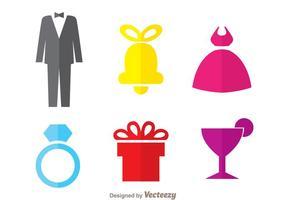 Icônes colorées de mariage vecteur