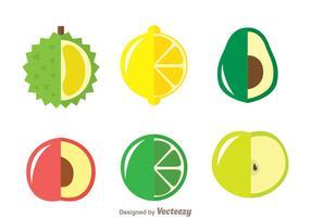 Icônes de fruits frais vecteur