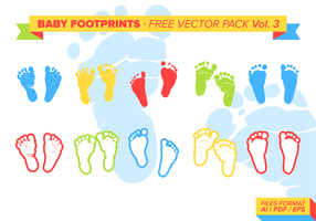 Kit de vecteur gratuit Baby Footprints Vol. 3