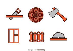 Icônes de travail du bois vecteur