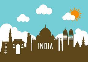 Inde, paysage, vecteur