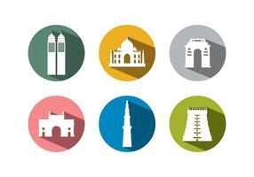 Ensemble de bâtiments de l'Inde vecteur