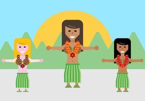 Vecteur libre de danseurs hawaiens