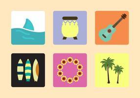 Icônes vectorielles hawaïennes